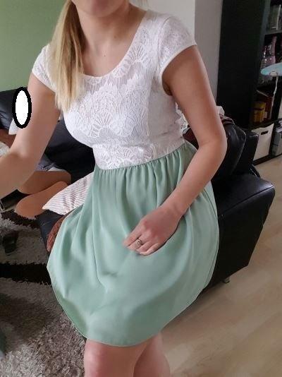 Sukienka koronka miętowa xs s