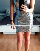 Sukienka świecąca srebrno czarna dopasowana mini...