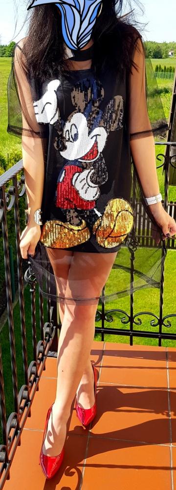 Sukienka z Myszką Mickey Mouse mini czarna...