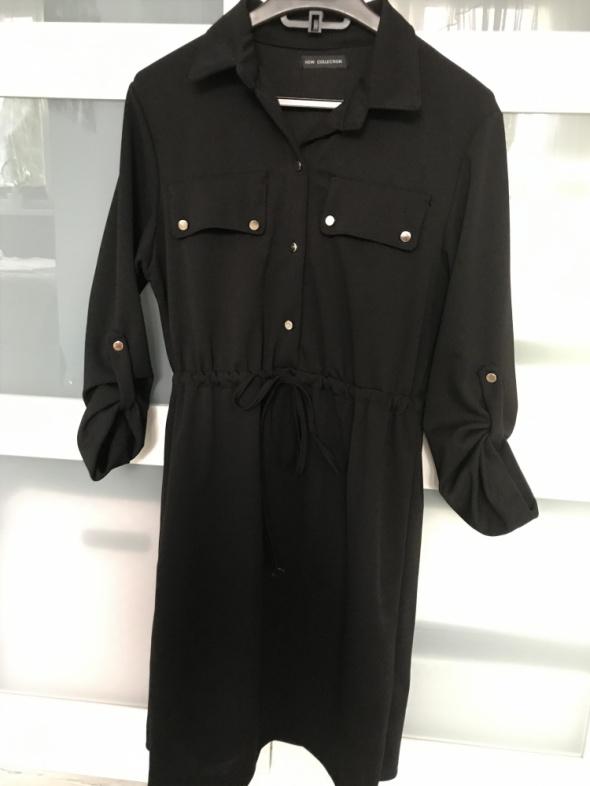 Czarna sukienka z kołnierzem