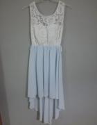 Sukienka wesele koronka tiul niebiesko biała