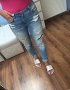 Spodnie jeans dziury boyfriend XS S...