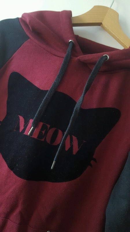 Bluza z kotem kocie uszy burgund czerń ćwieki Fishbone M...