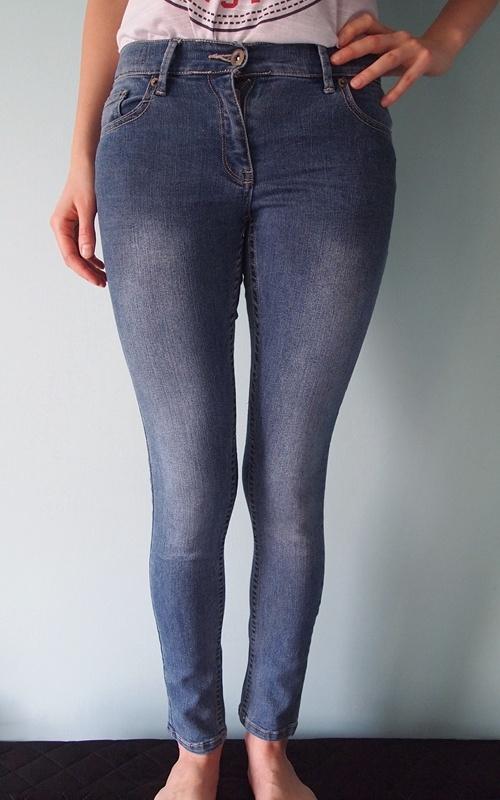 Niebieskie spodnie jeansy Candy Couture 34 XS 11 lat klasyczne dżinsy rurki jeansowe skinny obcisłe