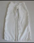 Lniane luźne białe spodnie damskie rozmiar 40 L...