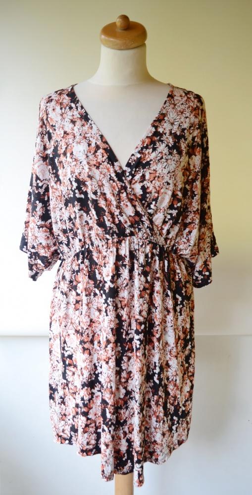 Sukienka Kwiaty XL 42 Do Karmienia Gina Tricot Kopertowa...