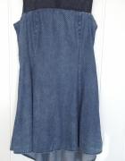 Asymetryczna rozkloszowana sukienka L 40 granatowa kropki jeans...
