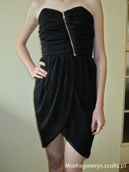 Suknie i sukienki mała czarna tulipian zip wesele impreza studn