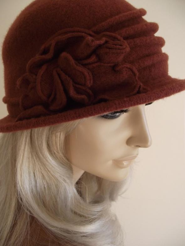 Nowy śliczny damski kapelusz melonik czapka wełna