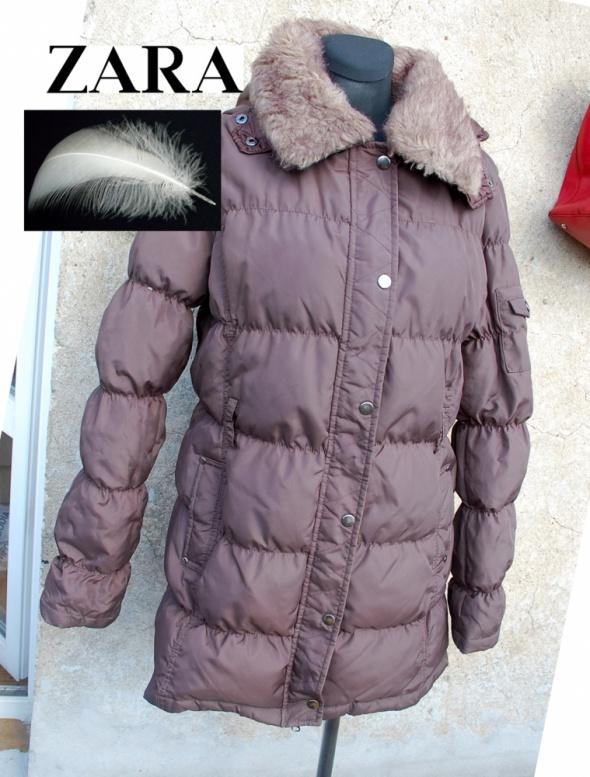 ZARA płaszcz puchowy puch naturalny M L