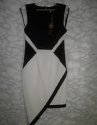 Lipsy elegancka czarno biała sukienka asymetryczna koktajlowa 3...