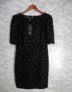 Margo nowa czarna ołówkowa sukienka wzory serca diamenty bufki ...