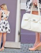 New Look sukienka ecru kremowa w palmy drzewa kloszowana 42 XL...