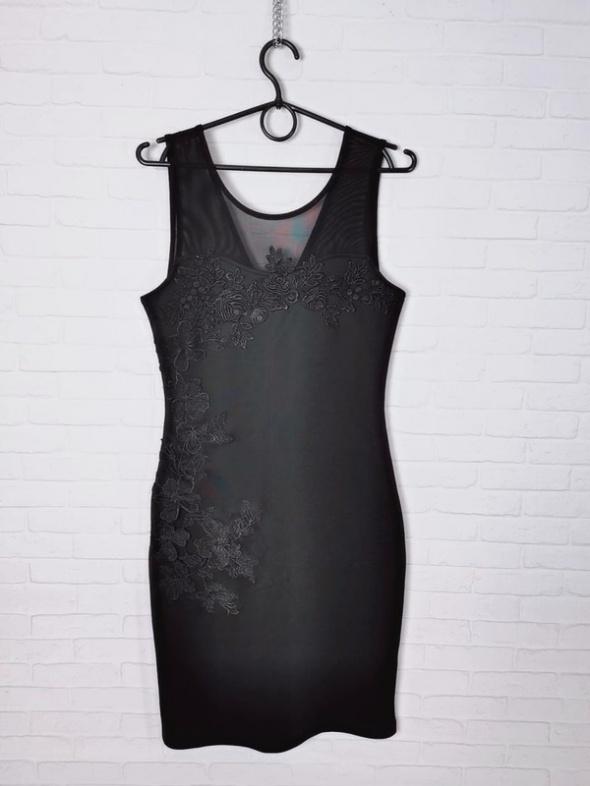 Freesia Czarna seksowna dopasowana sukienka ozdobna koronka sia...