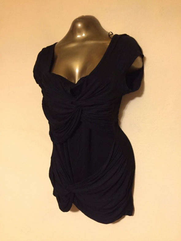 bluzka czarna Reserved marszczenia asymetria HIT
