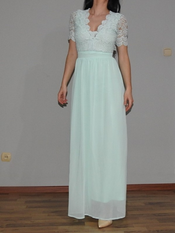 piękna miętowa suknia Asos długa maxi