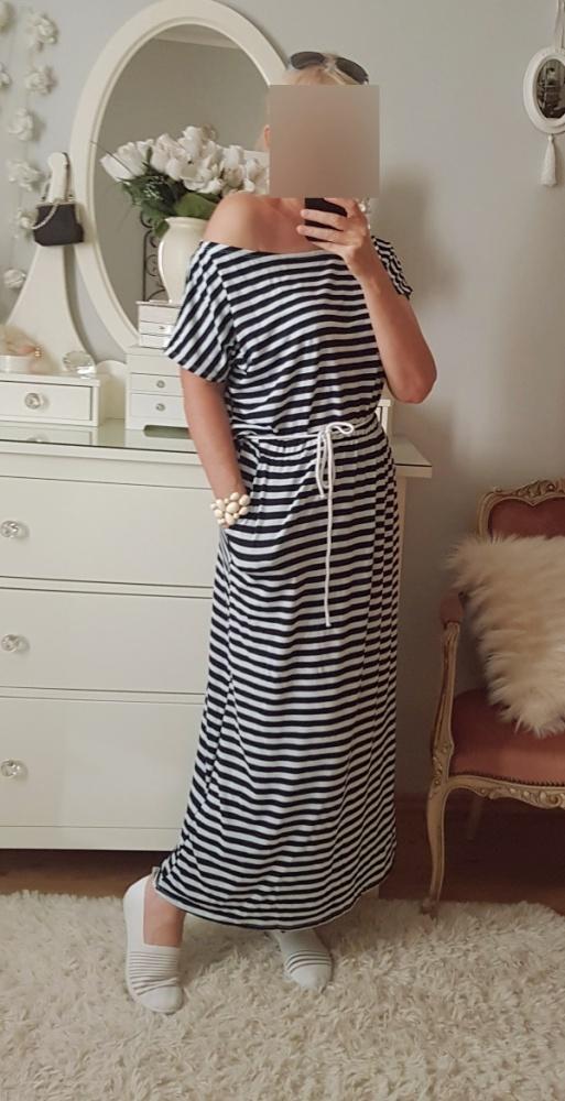 Sukienka maxi z kieszeniami dresowa oversize w Suknie i