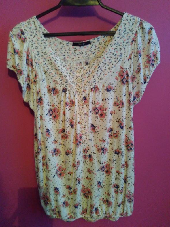 Piękna bluzeczka w kwiaty groszki L