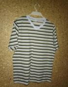 Bawełniany t shirt w paski krótki rękaw 48 50...