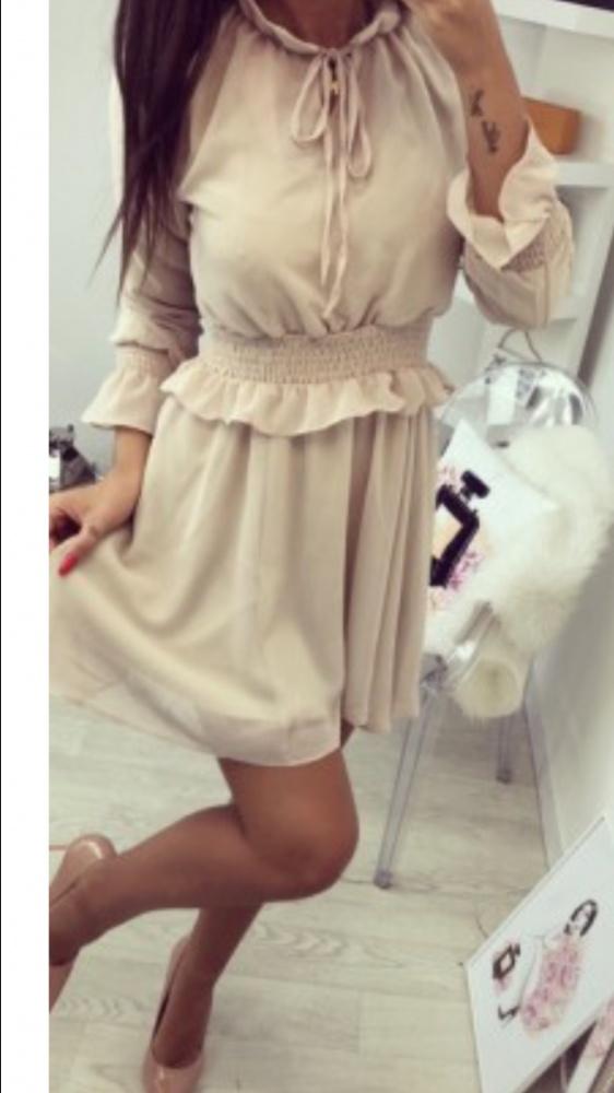 Sukienka bezowa nude