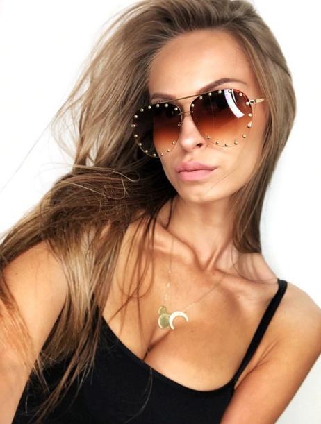 Okulary przeciwsłoneczne z ćwiekami brązowe ombre pilotki