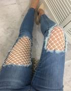 Spodnie jeans kabaretki siareczka biała dziury...