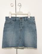 New Look spódniczka jeansowa mini dżins klasyczna przetarta mus...