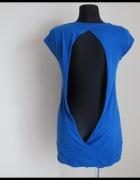 Tunika odkryte plecy rozmiar 40 L niebieska bluzka...