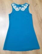 RIVER ISLAND XS 34 niebieska sukienka mini...
