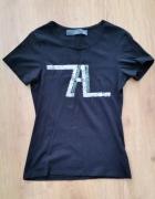 ZARA M 38 czarny t shirt cekiny litery jak nowy...