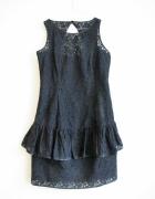 MANGO czarna koronkowa sukienka falbana jak nowa...