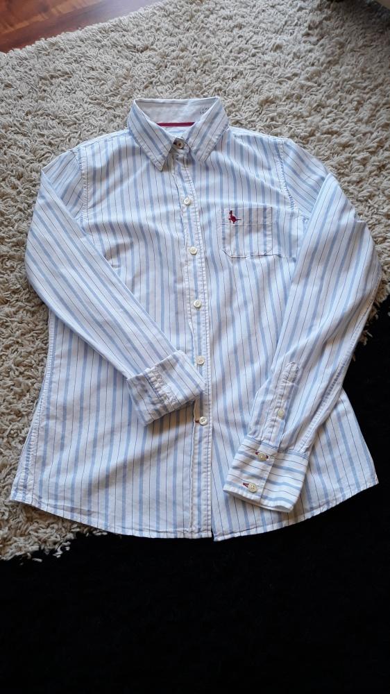 Koszula w paski na guziki biało niebieska 36