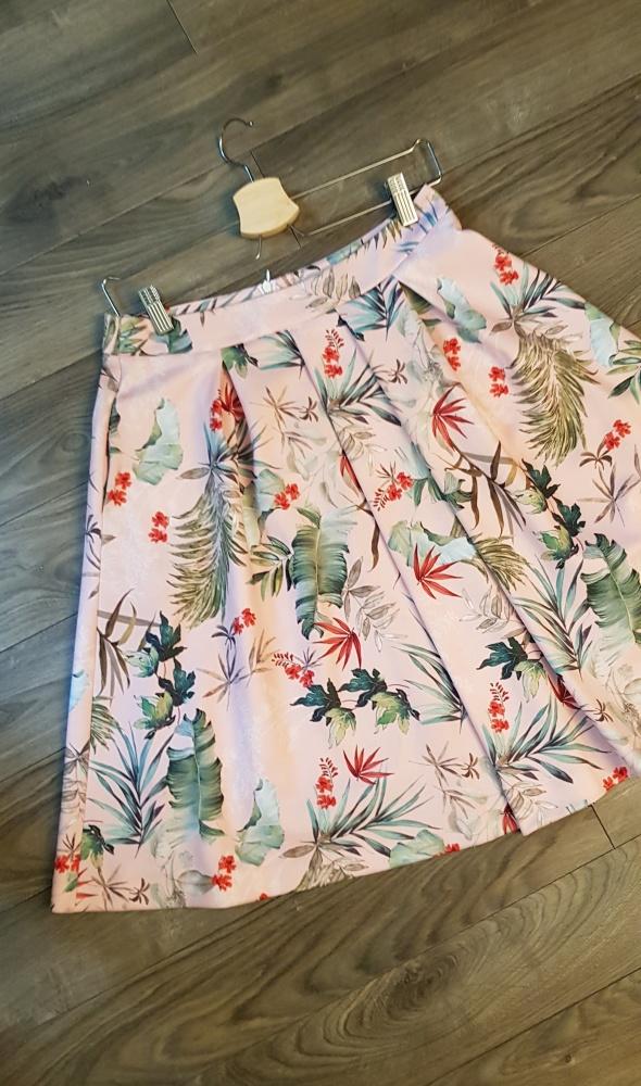 Spódnica Reserved r 38 liście różowa rozkloszowana...