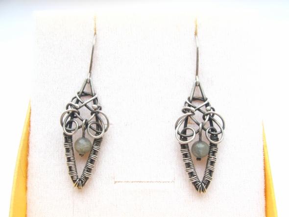 Kolczyki labradoryt srebro wire wrapping...