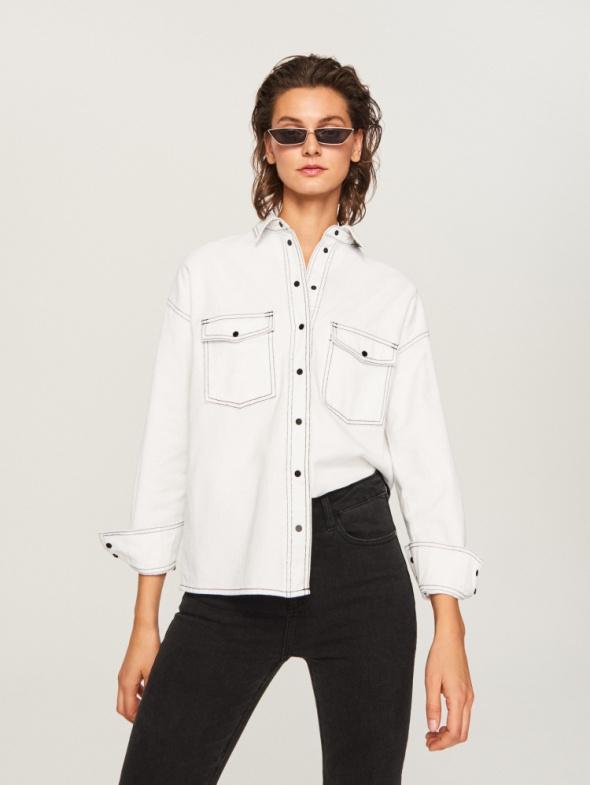Koszula wierzchnia biały jeans Reserved