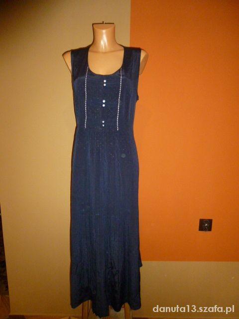 Granatowa sukienka plisowana długa m l