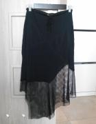 Zara spódnica asymetryczna siatka czarna midi...