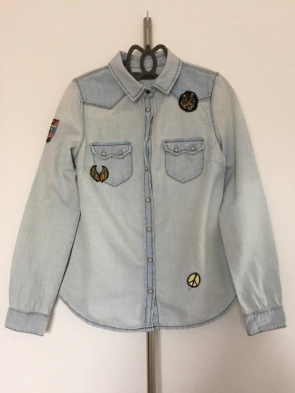 Jeansowa koszula Pull&Bear naszywki must have jeans insta tumbl...