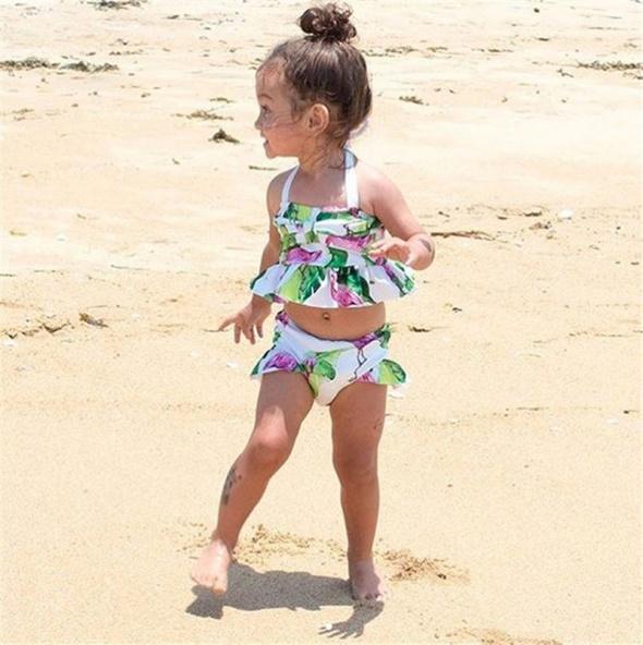 Nowy strój kąpielowy bikini dziewczęce dziecięce 1 rok 15 80 flamingi falbana