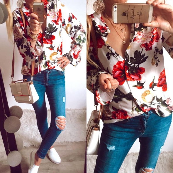 Koszula Damska w kwiaty M L