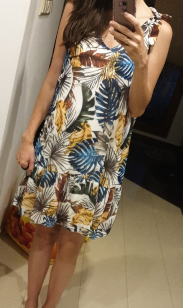sukienka z falbanka kolorowe liście nowa...