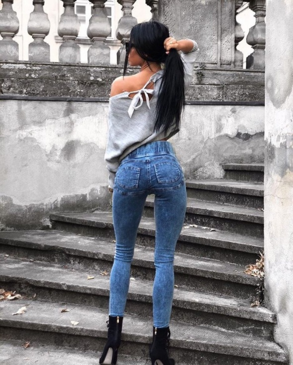 Ćudowny model legginsy jeans marmur...