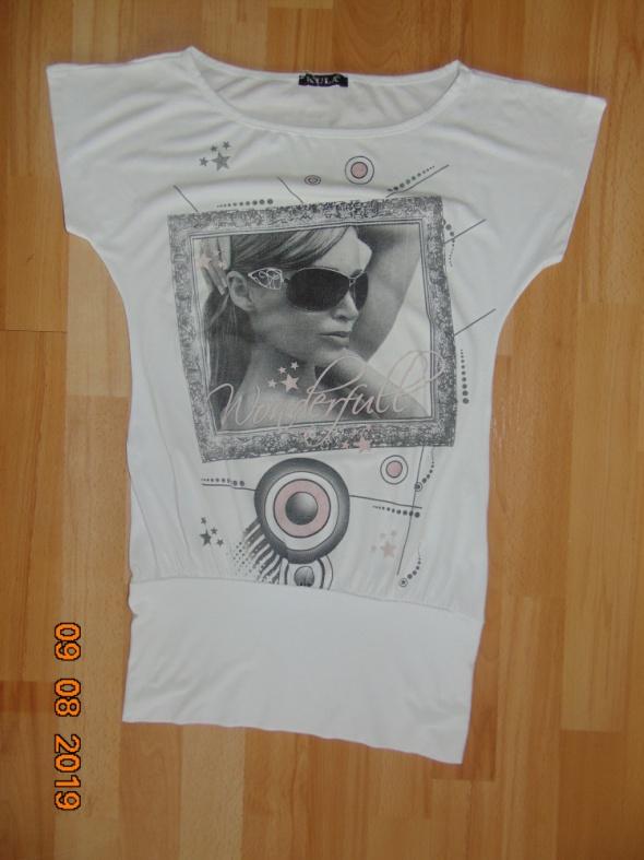 Biała bluzka z nadrukiem rozmiar 36 S...