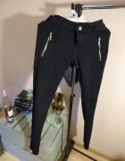 czarne spodnie TYK M 38 zamki złote kieszenie eleg...