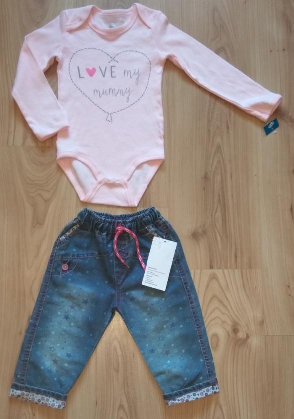 Komplety Nowe różowe body z długim rękawem i spodnie jeansy