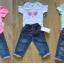 Miętowe body oraz cienkie spodnie jeansy 92