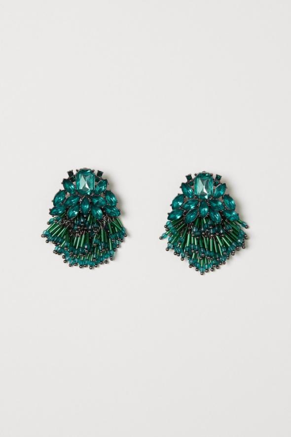 Kolczyki H&M piękne zielone kolczyki z kryształkami