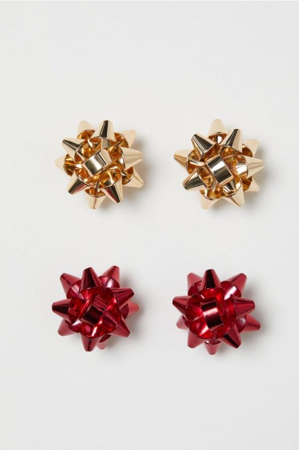 H&M piękne świąteczne kolczyki dwupak złote i czerwone...