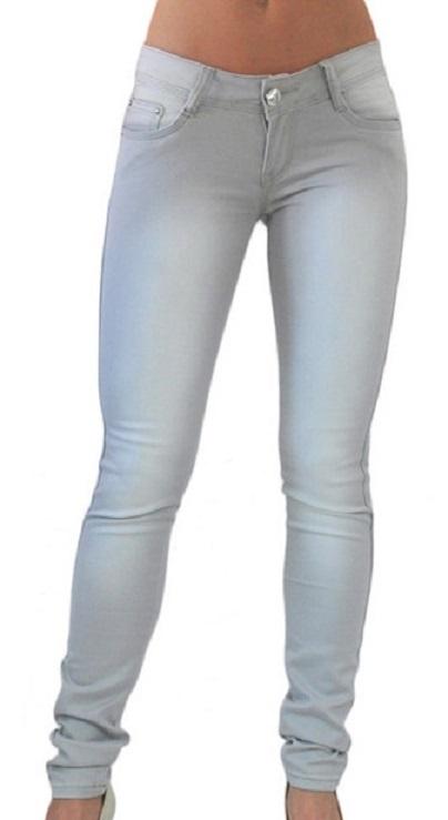 Szare jeansowe spodnie przecierane rurki