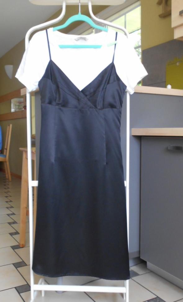 Esprit satynowa sukienka czarna bieliźniana...
